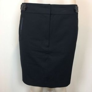Ann Taylor  Pencil Skirt  Faux Leather Trim